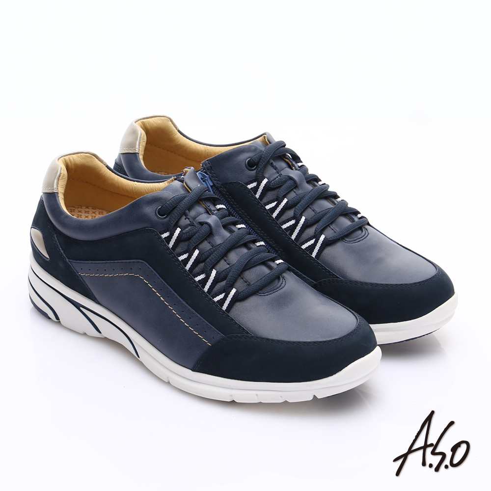 【A.S.O】紓壓耐走 絨面牛皮拼接奈米休閒鞋(深藍)