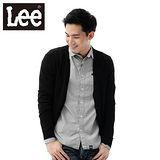 Lee-毛衣外套 V領簍空縮口開扣-男款(黑)