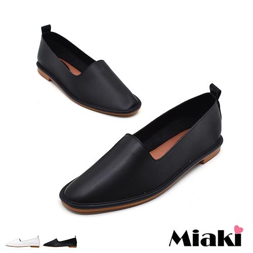 【Miaki】休閒鞋韓率性皮質兩穿式平底懶人包鞋 (黑色 / 白色)