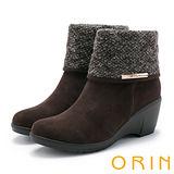 ORIN 時髦流行暖呼呼 反摺LOGO五金坡跟短靴-咖啡