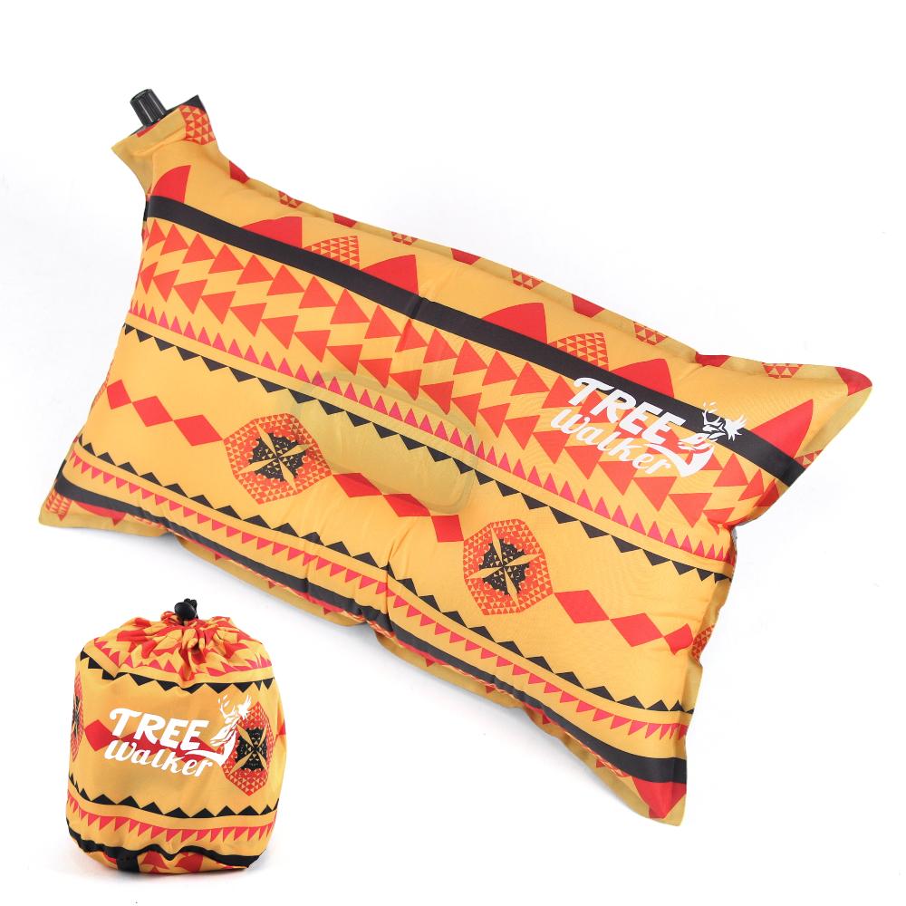 TreeWalker 舒適自動充氣枕頭 - 黃色圖騰