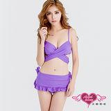 【天使霓裳】泳衣 海洋風範 二件式泳衣比基尼(紫M~XL)