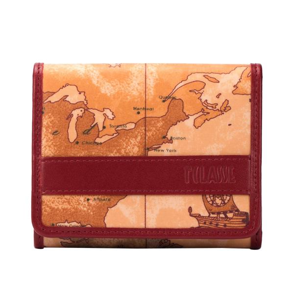 Alviero Martini 義大利地圖包 扣式6卡零錢短夾-地圖黃/櫻桃紅