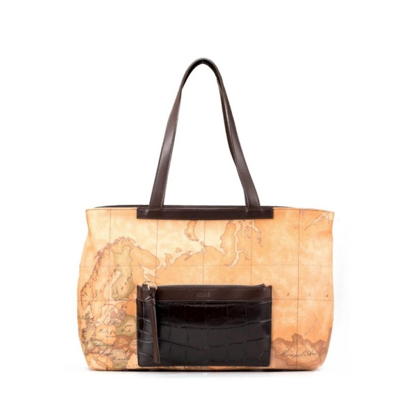 Alviero Martini 義大利地圖包 鱷紋手提肩背購物包-地圖黃/深咖啡