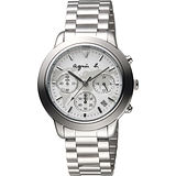agnes b. 環遊世界地圖計時腕錶-白x銀/39mm VD53-KQ00S(BT3018X1)