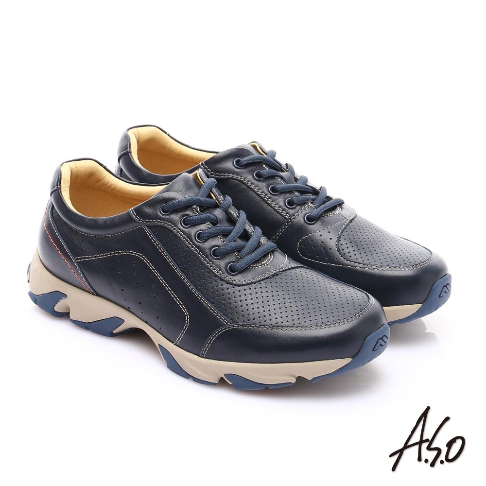 【A.S.O】輕量抗震 真皮質感綁帶奈米休閒鞋(藍)