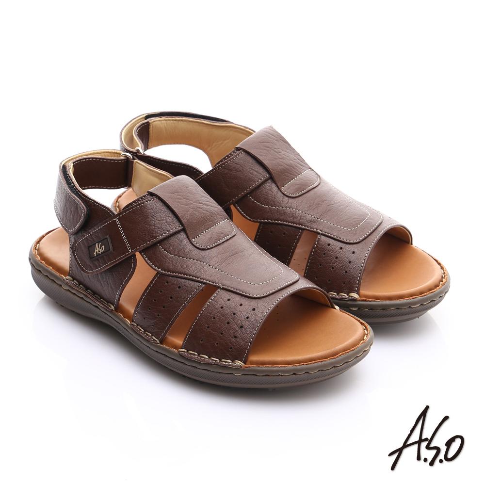【A.S.O】輕量樂活 摔花牛皮輕量抗震涼鞋(咖啡)
