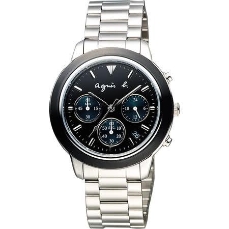 【agnes b.】時尚神秘黑三眼計時腕錶-黑x綠眼x銀(VD53-KQ00A/BT3014X1)