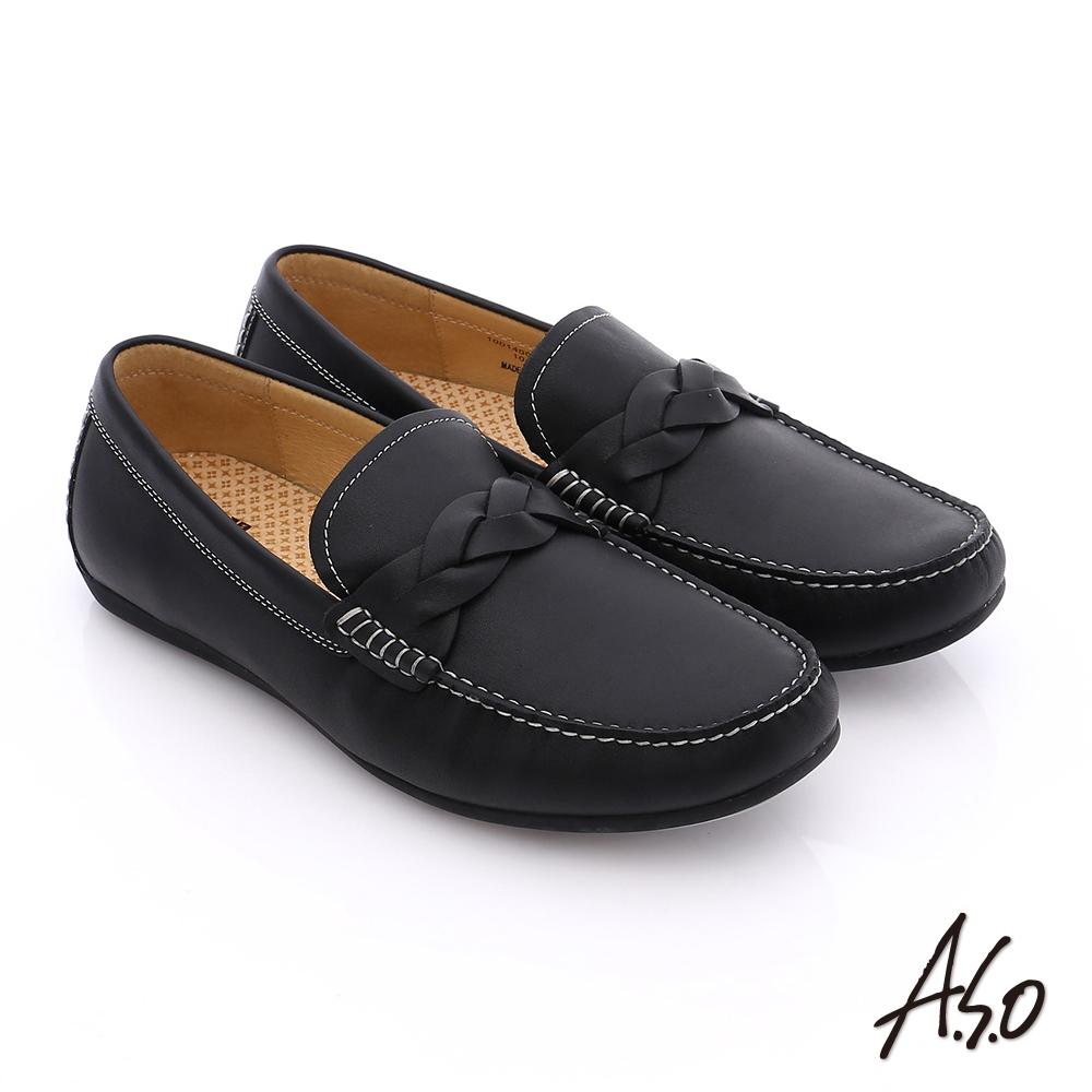 【A.S.O】輕量抗震 真皮編織縫線奈米樂福鞋(黑)