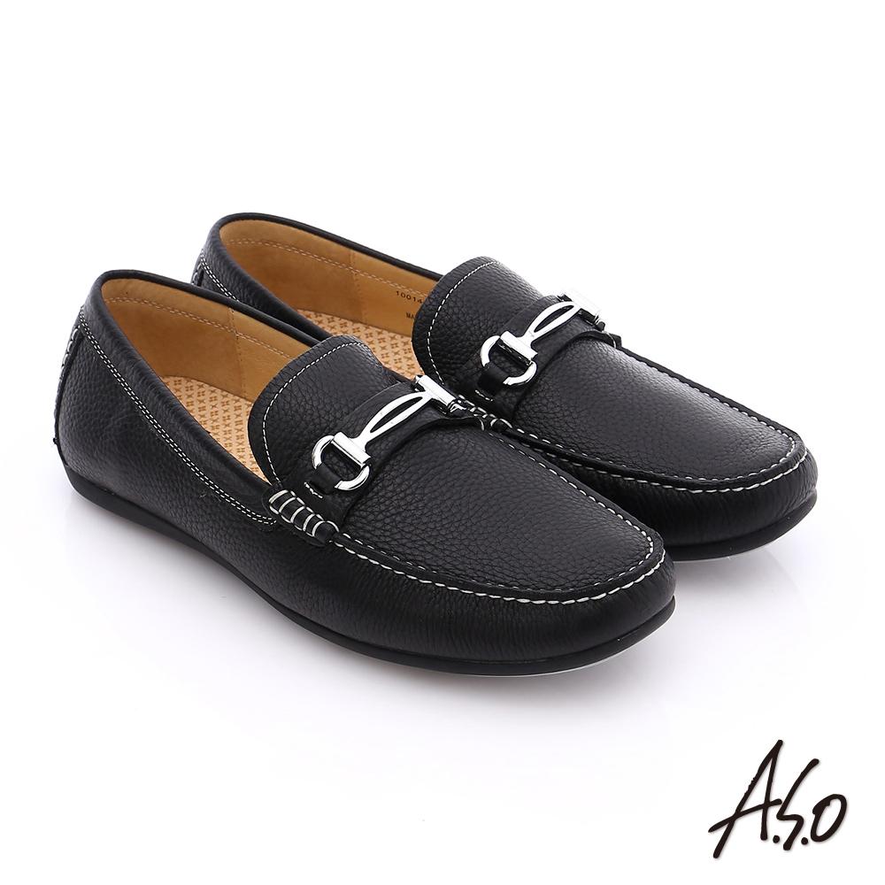 【A.S.O】輕量抗震 真皮結飾縫線奈米樂福鞋(黑)
