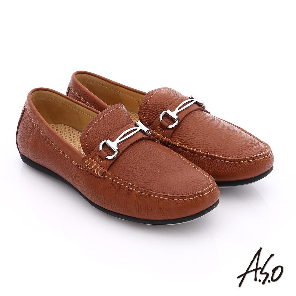 【A.S.O】輕量抗震 真皮結飾縫線奈米樂福鞋(茶)