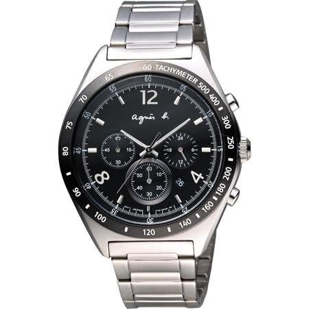 agnes b 7T12-0AP0D(BW8001P1)法式時尚風計時腕錶/黑面42mm