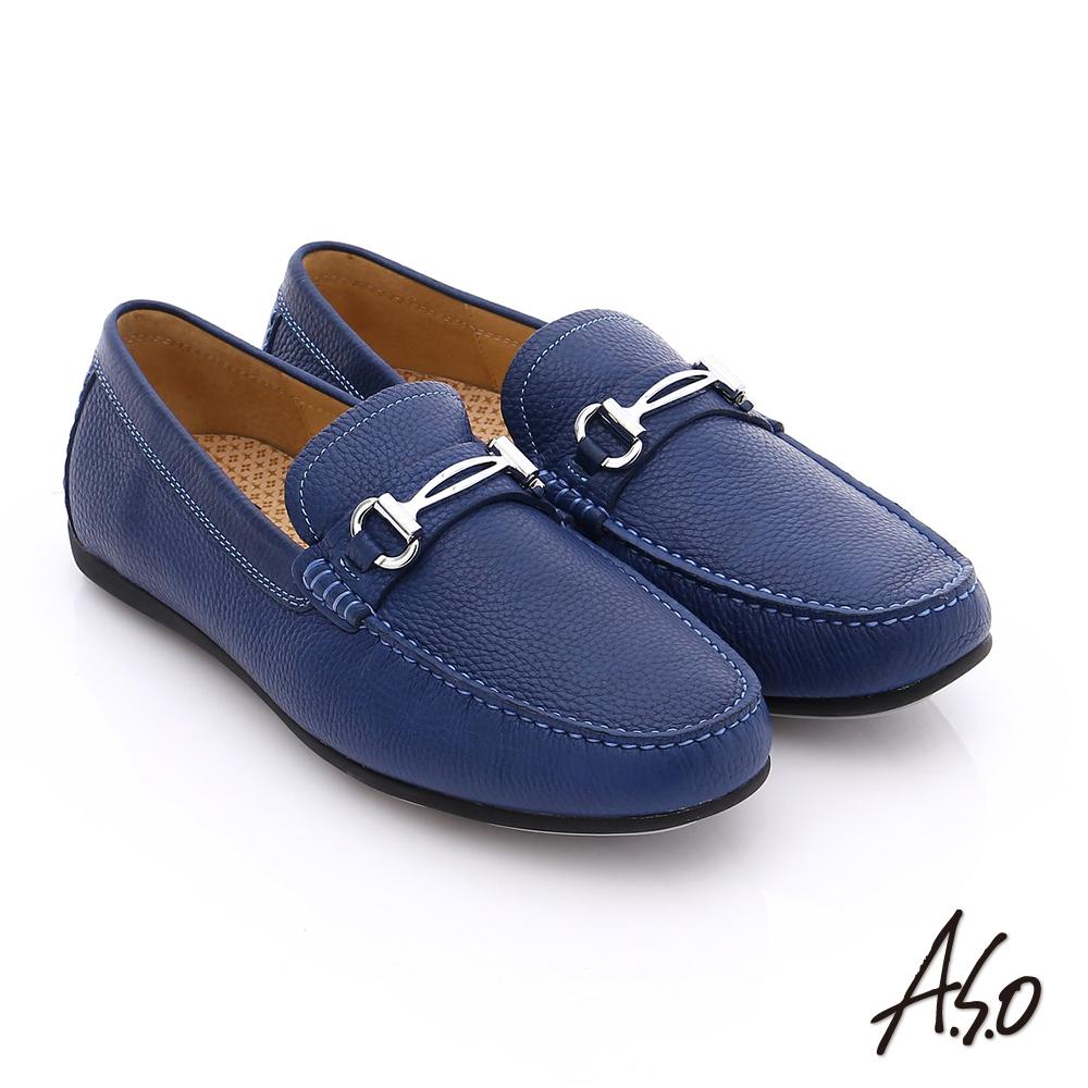 【A.S.O】輕量抗震 真皮結飾縫線奈米樂福鞋(深藍)