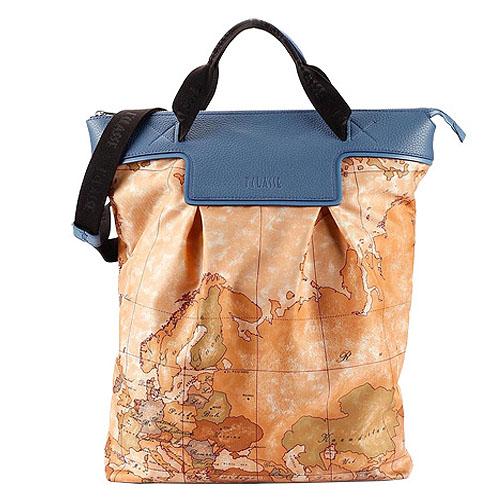 Alviero Martini 義大利地圖包 尼龍長型手提肩背包-地圖黃/藍綠