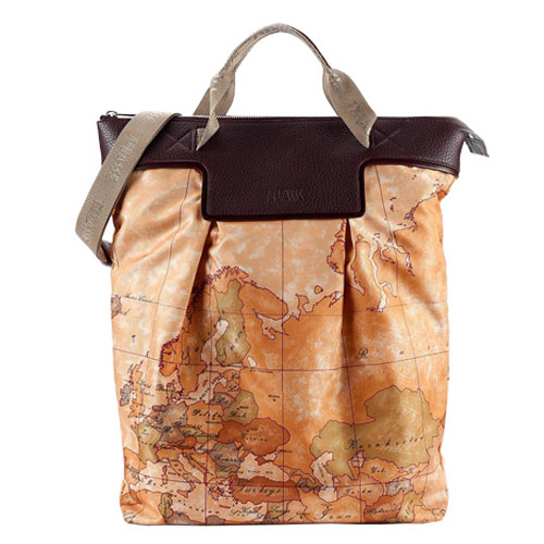 Alviero Martini 義大利地圖包 尼龍長型手提肩背包-地圖黃/深咖紅