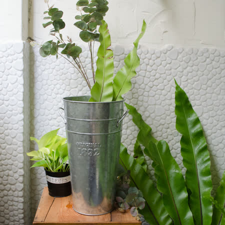 【Meric Garden】日式雜貨風仿錘紋亮銀馬口鐵雙耳高桶花器