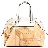 Alviero Martini 義大利地圖包 鏈帶手提肩背包(大)-地圖黃/米色