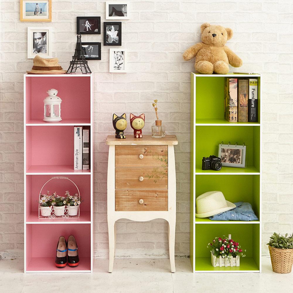 組裝簡單 玩色木質四層櫃/書櫃