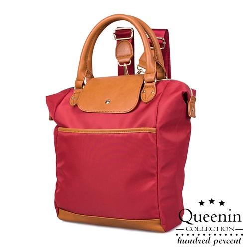DF Queenin日韓 - 日系輕尼龍款皮飾2way手提後背包-共3色