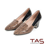 TAS 鱷魚壓紋牛皮拼接金屬樂福高跟鞋-迷人卡其