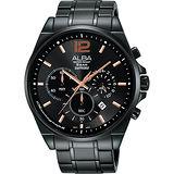 ALBA Prestige 街頭酷流行計時腕錶-鍍黑/44mm VD53-X260SD(AT3A65X1)