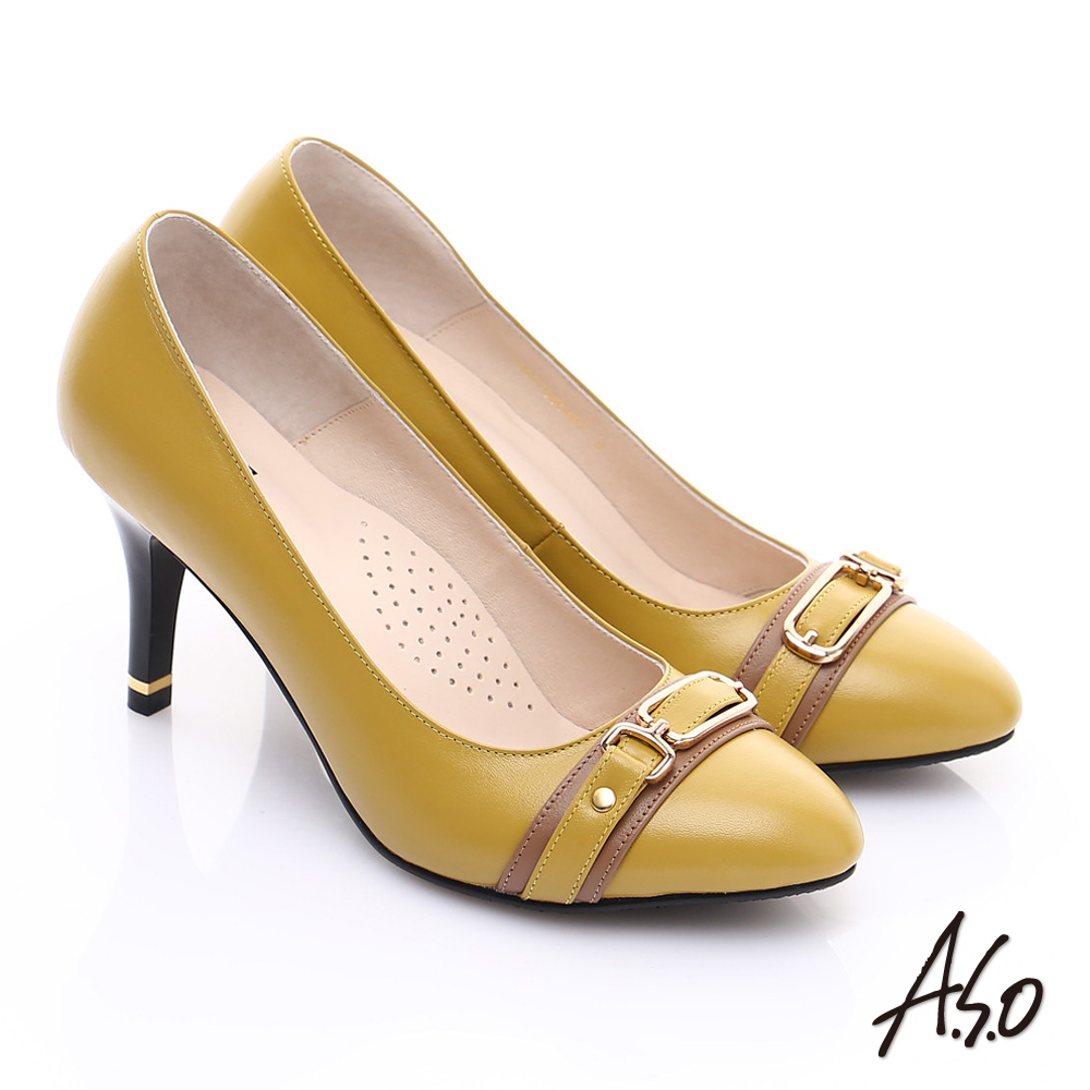 【A.S.O】優雅時尚 全真皮經典金屬飾扣高跟鞋(芥末黃)