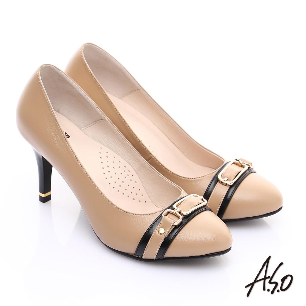 【A.S.O】優雅時尚 全真皮經典金屬飾扣高跟鞋(卡其)