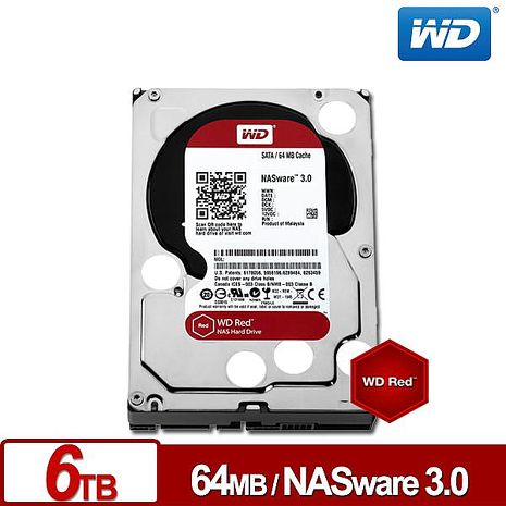 WD60EFRX 紅標 6TB 3.5吋NAS硬碟