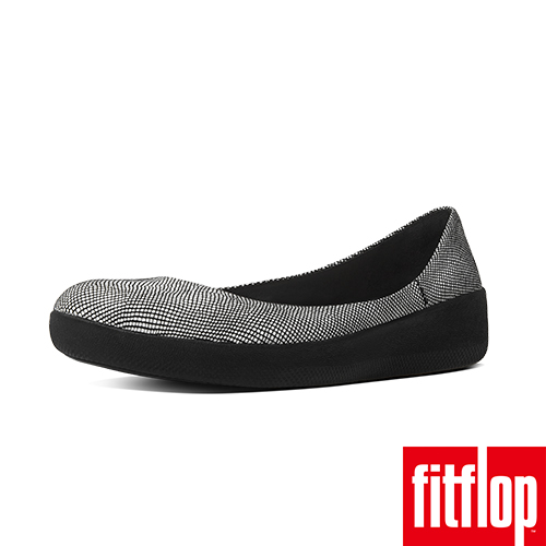 FitFlop™-(女款)SUPERBALLERINA™ SUEDE-蛇紋黑