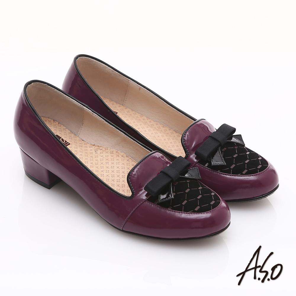 【A.S.O】3E舒活寬楦 真皮拼接菱格紋蝴蝶結飾低跟鞋(酒紅)