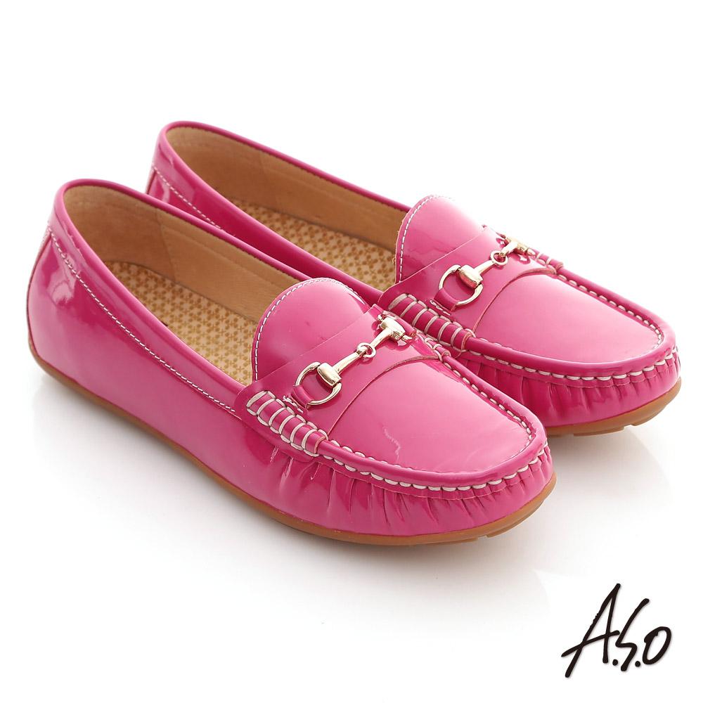 【A.S.O】舒壓耐走 全真牛皮金屬釦環莫卡辛平底鞋(桃粉紅)