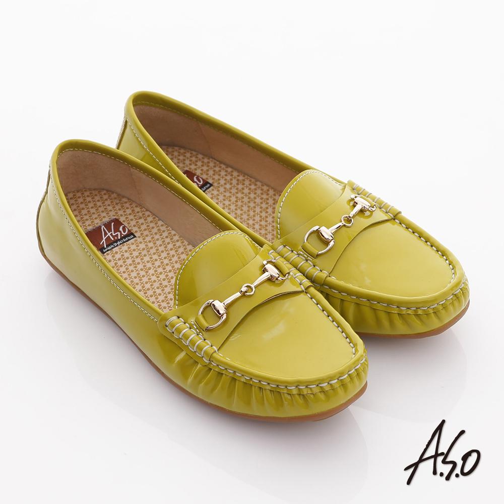 【A.S.O】舒壓耐走 全真牛皮金屬釦環莫卡辛平底鞋(淺綠)