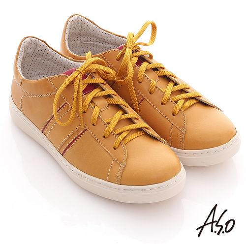 【A.S.O】3D奈米系列 全真皮綁帶雙色拼接休閒鞋(芥末黃)