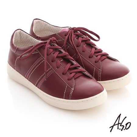 【A.S.O】3D奈米系列 全真皮綁帶雙色拼接休閒鞋(紫紅)