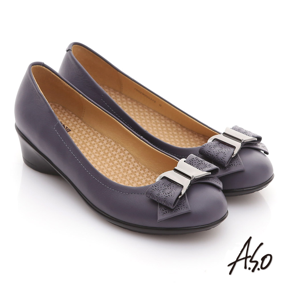 【A.S.O】舒適通勤 真皮蝴蝶結奈米彈力平底鞋(紫)