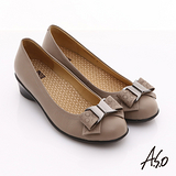 【A.S.O】舒適通勤 真皮蝴蝶結奈米彈力平底鞋(卡其)