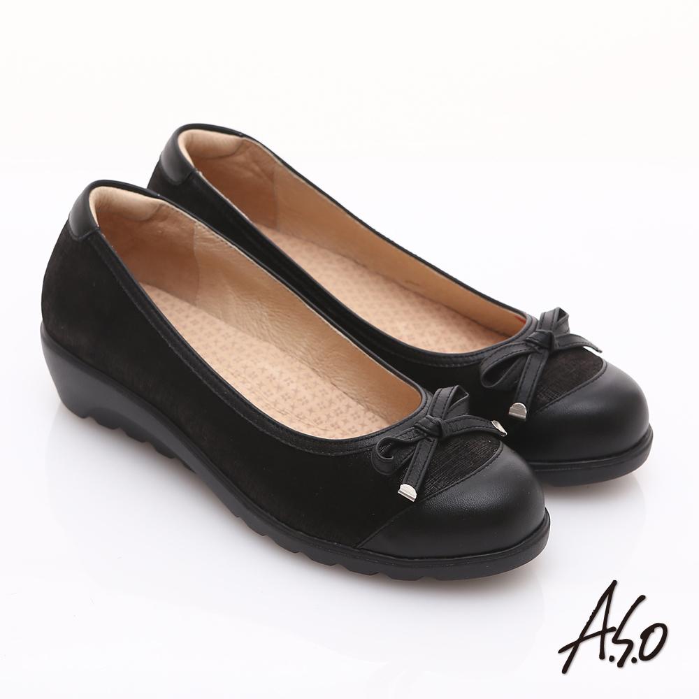 【A.S.O】舒適通勤 金箔真皮蝴蝶結奈米楔型跟鞋(黑)