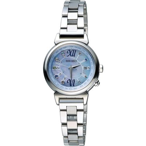 SEIKO 精工 LUKIA 綺麗旅程 太陽能電波腕錶 1B25-0AF0B 藍色 SSVV023J