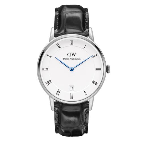 DW Daniel Wellington Dapper 時尚皮革腕錶-銀框/34mm(DW00100117)