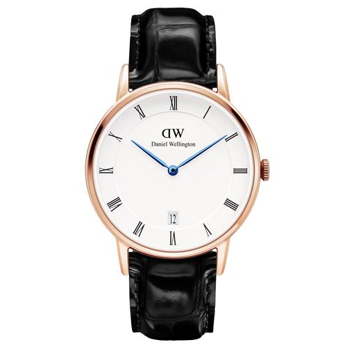 DW Daniel Wellington Dapper 時尚黑色皮革腕錶-金框/34mm(DW00100118)