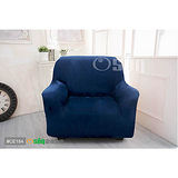 【Osun】一體成型防蹣彈性沙發套-厚棉絨深藍色(單人座CE-184)