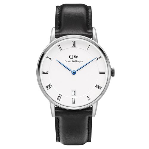 DW Daniel Wellington Dapper時尚黑色皮革腕錶-銀框/34mm(1141DW)