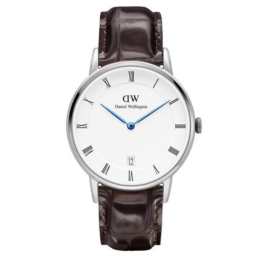 DW Daniel Wellington Dapper時尚深啡鱷魚紋皮革腕錶-銀框/34mm(1142DW)