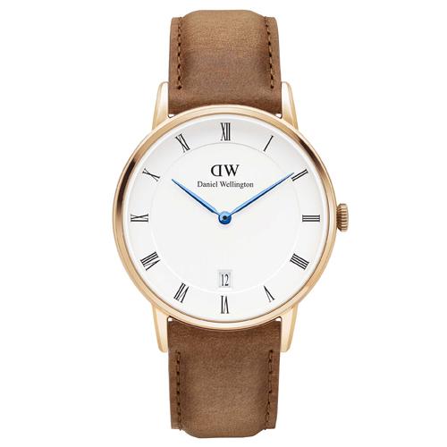 DW Daniel Wellington Dapper 經典淺棕色皮革腕錶-金框/34mm(DW00100113)