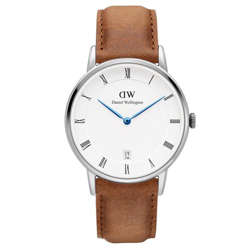 DW Daniel Wellington Dapper 經典淺棕色皮革腕錶-銀框/34mm(DW00100114)