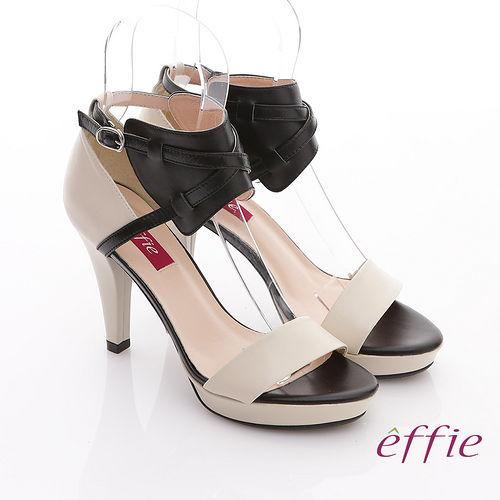 【effie】魔法戀情 全真皮雙色高跟涼鞋(米)