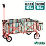 【日本 LOGOS】 耐重型多用途四輪條紋裝備拖車.置物推車 84720712