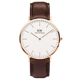 DW Daniel Wellington 時尚深咖啡皮革腕錶-金框/40mm(0109DW)