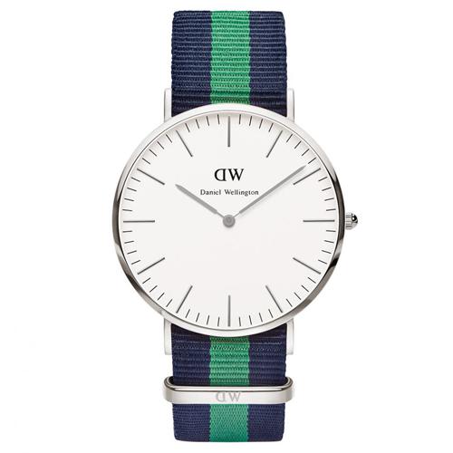 DW Daniel Wellington 經典藍綠帆布腕錶-銀框/40mm(0205DW)