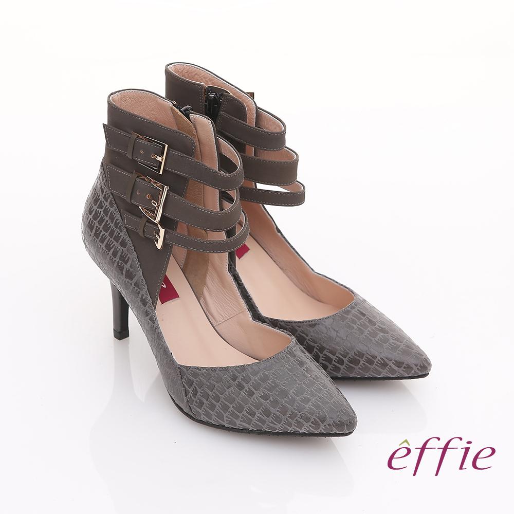 【effie】都市風情 全真皮絨面壓紋扣帶尖楦跟鞋(灰)